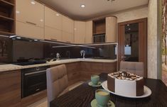 Дизайн-проект кухни в стиле контемпорари.. Кухня