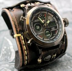 9b0233c45 Vintage looking distressed black men's watch, made using natural veg tan  leather which is hand