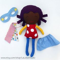 AFRO DOLL, black doll, ragdoll, superhero doll, fabric dolls, dolls, cloth dolls, handmade doll, african american doll, custom doll, softtoy This unique superhero girl doll is a friend for a lifetime! A ragdoll is like a best friend * deserves all your trust and love * will make you laugh whenever * will never judge you * make you feel safe * dont care if you are crazy or quiet * he likes you for YOU. The lovely superhero doll in african style comes with: - superheroe mask - supersonic do...