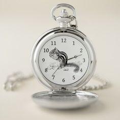 #Chipmunk and Acorns Pocket Watch - #cute #gifts #cool #giftideas #custom