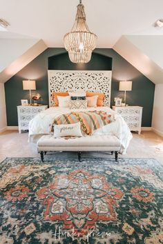 colorful home decor Cozy Master Bedroom Reveal. Find ideas for your own room. Rustic and boho design with cutest colors. Bedroom Apartment, Interior, Home, Bedroom Makeover, Home Bedroom, Bedroom Inspirations, Modern Bedroom, Cozy Master Bedroom, Interior Design
