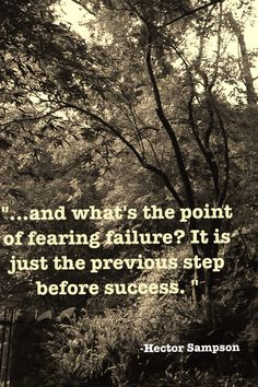 """...and what's the point of fearing failure? It is just the previous step before success. """