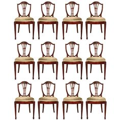 A set of twelve English 19th century George III st. solid mahogany dining chairs | From a unique collection of antique and modern dining room chairs at https://www.1stdibs.com/furniture/seating/dining-room-chairs/