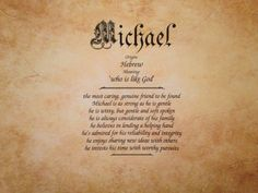Father's Day gift idea! Michael First Name Meaning Art Print- inspirationsbypam. See more designs at www.etsy.com/shop/inspirationsbypam. Save 10% with code: Pinterest10 thru 12-31-16.