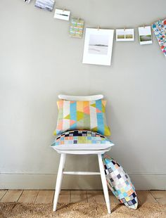 Love the clothespin banner -Imogen Heath's pattern work is so colorful and vivid