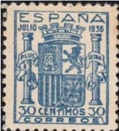 España año 1936 - Serie: Emblema de España. Emisión: Sello Conmemorativo. Tema: Escudo de armas español de fecha julio de 1936 (Etapa republicana, se sustituye la corona por el castillete),