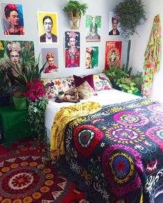Home Bedroom Bohemianism House Bohemian style Apartment Bed sheet Bedding Bohemian Bedroom, Bohemian Style Decor Bedroom, Decor, Bedroom Decor Inspiration, Boho Bedroom Design, Bohemian Style Apartment, Bohemian Bedroom Decor, Bohemian Style Bedrooms, Home Decor
