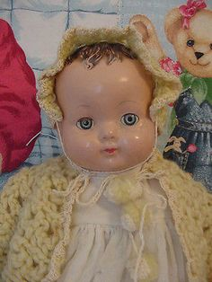 19-old-vintage-antique-composition-cloth-Effanbee-baby-mama-Doll-1930s-for-TLC// look at that determined little grin-