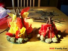 Kid's campfire craft for indoor camping...   on rainy days of course!
