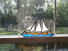 Ship in bottle stained glass VERY CLEVER