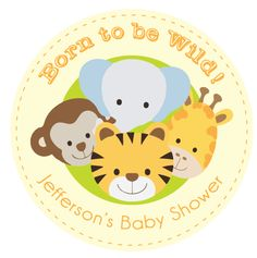 """Born to be Wild"" Animal Jungle Safari Baby Shower Favour Gift Sticker Label"