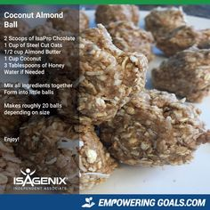 Isagenix snacks- Are you looking for some ideas that are tasty but won't leave you feeling guilty? These Isagenix snack ideas are right on target. Isagenix Snacks, Healthy Protein Snacks, Protein Foods, Protein Recipes, Healthy Eating, Whey Recipes, Protein Cookies, Healthy Deserts, Meal Recipes