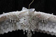 Padded WeDDING HANGeR  HANGER COUTURE  Elegant Ecru by MaryMarryMe
