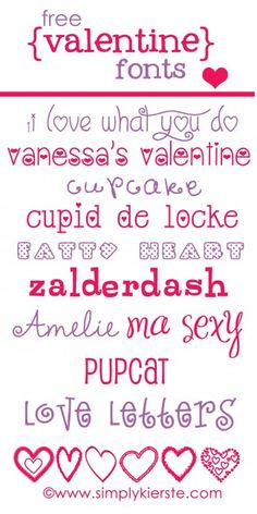 Free valentine fonts, from Simply Kierste -- it's got one called Amelie :) Cute Fonts, Fancy Fonts, Diy Spring, Computer Font, Alphabet, Cricut Fonts, Cricut Creations, Love Valentines, Valentine Ideas