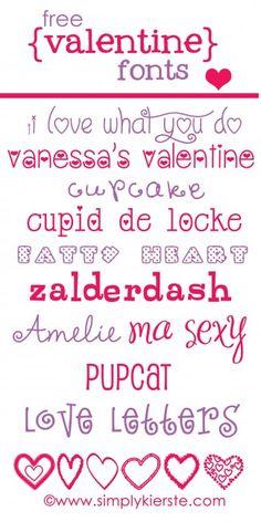 Free valentine fonts | www.simplykierste.com  http://simplykierste.com/2013/01/free-valentine-fonts.html
