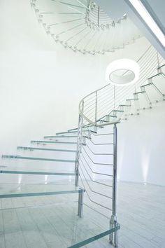 Circular floating staircase (glass steps) GLASS Marretti | Glastreppe mit Edelstahlteilen...