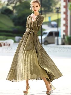 Concise Pure Color V-Neck Belt Long Sleeves A-Line Maxi Dress Material:Polyester