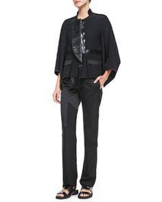 -4WG5 Givenchy Fan-Lapel Silk Zip Jacket, Maria Carla Jersey Tank Top & Crepe-de-Chine Inlay Pants