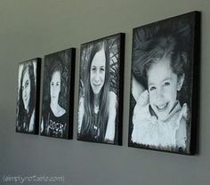 adding pictures to canvas! super easy using modpodge!! Im doing this with pics of wyatt for the bathroom!!