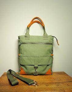 Messenger Crossbody Bag in Olive Khaki Canvas/Tote/ by HangaBag, $116.00