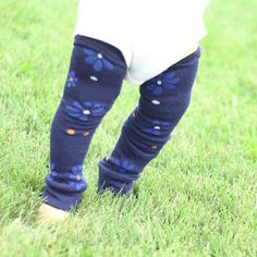 Navy Blue Flowers and Dots Baby Leg Warmers by PoshPipsqueak, $6.95