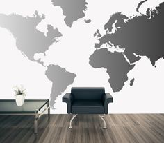 World map wall art stencil from cutting edge stencils looks perfect studio map mural pewter gradient gumiabroncs Choice Image