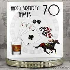 A stylish square birthday card based around betting games and sports, with a large roulette wheel in the background, a set of dice, four playing cards, red and black casino chips, a racing horse and jockey and a glass of Whiskey on the side. The dice have Swarovski crystals donating the numbers 5 and 4.  #Gambling #Poker #Bet #Betting #Dice #Casino #SportsBetting #HorseRacing #Whiskey #BirthdayCard #MaleBirthday #Birthday #Roulette #PersonalisedCards #CardMaking #HandmadeCards #Cards #Greeti Luxury Birthday Cards, Birthday Cards For Men, Special Birthday, Man Birthday, Happy Birthday, Personalized Birthday Cards, Handmade Birthday Cards, Handmade Cards, Luxury Card