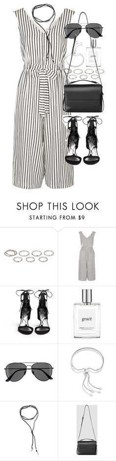 """Outfit with a striped jumpsuit for a night out"" by ferned ❤ liked on Polyvore featuring Akira, Topshop, Stuart Weitzman, philosophy, H&M, Monica Vinader, BlackMoon and AllSaints"