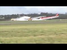VíDEO: momento em que avião faz pouso de barriga no aeroporto em Brasília
