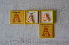 NOS Vtg Care Bears Jewelry Your Choice Pendant Necklace or Pin Birthday Bear Pin Birthday Bear Pendant Orange Bear Cupcake Tummy 1980s 80s by ApplePickerVintage on Etsy https://www.etsy.com/listing/466651394/nos-vtg-care-bears-jewelry-your-choice