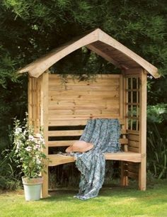 Forest Garden Cadiz Arbour Compact arbour seat with a solid back to provide protection against the elements. A place to sit back and relax. Garden Arbour Seat, Arbor Bench, Garden Seating, Garden Arbours, Garden Benches, Garden Nook, Gravel Garden, Bench Seat, Garden Spaces