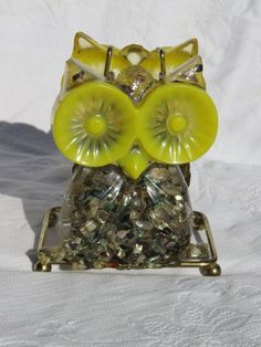 Owl Napkin Holder, Yellow and Silver Owl,  Lucite Resin with Abalone Shells, 1960s Retro Kitchen, Cabin Decor, C by GinnysGirlsTreasures on Etsy