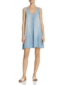 Aqua Chambray Sleeveless A-Line Dress - 100% Exclusive