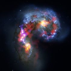 Antennae Galaxies are a pair of distorted colliding spiral galaxies about 70 million light-years away, in the constellation of Corvus (The Crow).