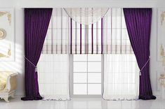 Sweet Violet Bedroom Curtain Photos Collection : Lovely Violet Drapery Bedroom Curtain Ideas with White Ceramic Floor and White Wall Painting for Luxury Bedroom Design Inspiration Latest Curtain Designs, Window Curtain Designs, Drapery Designs, Curtain Ideas, Luxury Curtains, Elegant Curtains, Cool Curtains, Window Curtains, Curtains 2018