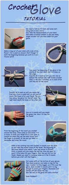 Crochet Glove Tutorial by ~ItziBitziTinka on deviantART