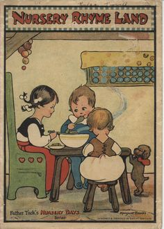 ''NURSERY RHYME LAND'', illus. by Margaret Banks Vintage Children's Books, Vintage Ephemera, Vintage Art, Lisa, Japanese Drawings, Vintage Pictures, Vintage Images, Book Cover Art, Children's Book Illustration