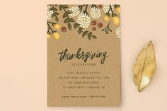Hosting Thanksgiving dinner? Send your loved ones a holiday themed invitation like Festive Autumn Foliage Holiday Party Invitations by Karidy Walker from Minted.