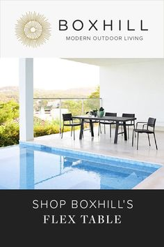The perfect two-in-one table, our aluminum Flex Table can be used as a dining table or a lounge table, the choice is yours. Shop BOXHILL for outdoor style! Outdoor Pool Furniture, Outdoor Garden Decor, Outdoor Tables, Landscape Design, Garden Design, Modern Outdoor Living, Pool Lounge Chairs, Modern Pools, Pool Designs