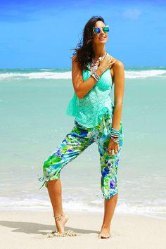 Capri Beach Pants, Resort Wear  - Green & Blue Flowers. PennyLuna.com