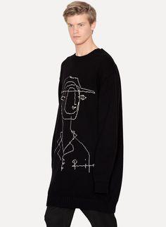 Jacquard Long Sweater - Yohji Yamamoto
