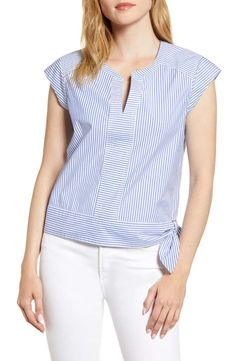 Women's Vineyard Vines Skiff Stripe Side Tie Top, Size 8 - Blue Cap sleeves and a cute hip tie make this striped stretch-cotton top utterly charming. Style Name:Vineyard Vines Skiff Stripe Side Tie Top. Blouse Styles, Blouse Designs, Clothing Patterns, Dress Patterns, Sewing Blouses, Wide Leg Denim, Cute Tops, Shirt Blouses, Dame