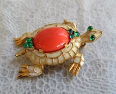 Rare Trifari 1968 figural turtle brooch from the L'Orient