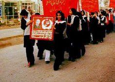 Women marching in support of Afghan revolutionary leader Taraki.