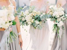 Airy grey and green florals by artist Fiona Seidl of http://Flowerup.at finest wedding photography by http://peachesandmint.com