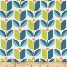 Joel Dewberry Flora Tulip Eucalyptus from @fabricdotcom  Designed by Joel Dewberry for Free Spirit, this cotton print is perfect for quilting, apparel and home decor accents. Colors include cream, orange, green and shades of blue.
