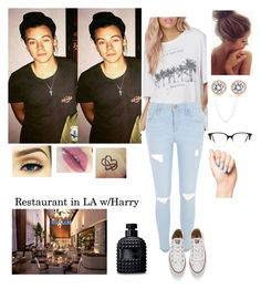 """""""Restaurant in LA w/Harry"""" by tiffany-london-1 ❤ liked on Polyvore featuring River Island, Converse, Michael Kors, Tiffany & Co., Victoria Beckham and Valentino"""