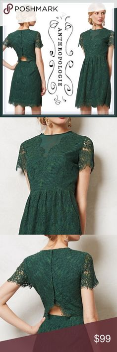 Anthropologie Eyelash Margaux Dress ➖BRAND: Anthropologie  ➖SIZE: Medium ➖STYLE: Dolce Vita Eyelash Margaux Green Lace Dress : Make sure this lacy piece from Dolce Vita makes an entrance to any party this holiday season. With a dainty mesh insert , cutout in the back and a button back bodice. Has a side zip   Homecoming prom short club cocktail   ❌ NO TRADE  Entropycat Anthropologie Dresses Mini