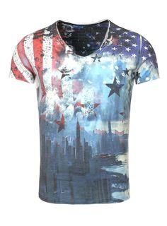 MT SKYLINE v-neck KEY LARGO | KEY LARGO Deutschland Herren T Shirt, Nyc, Printer, Tie Dye, Skyline, V Neck, Flags, Mens Tops, Shopping