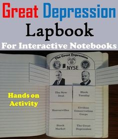 This lapbook is a fun hands on activity for students to use in their interactive notebooks. Students may research or show what they have learned by writing different facts on the provided blank lines about each Term Associated with the Great Depression.
